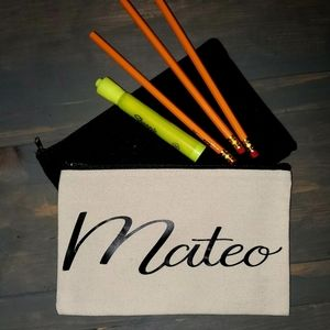 Hand Crafted   Personalized Canvas Pencil Case